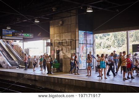 Tel Aviv - 10.04.2017: People Waiting At The Train Station