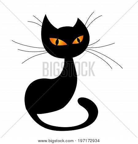 Black cat silhouette isolated on white background. Vector illustration.