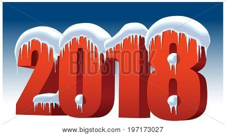 New Year 2018 with snow icicles and ice on a blue background