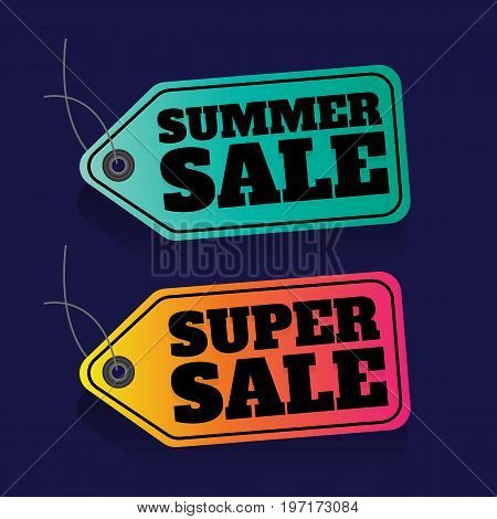 summer SALE. price tag. SALE colorful. percent. discount. Super sale banner. Sale poster vector. sale sign discount. on blue background