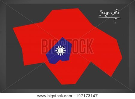 Jiayi Shi Taiwan Map With Taiwanese National Flag Illustration