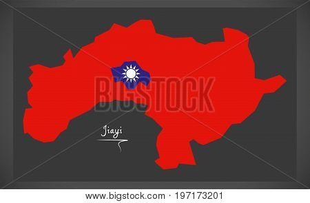 Jiayi Taiwan Map With Taiwanese National Flag Illustration
