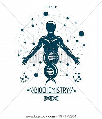 Vector graphic illustration of strong male depicted as DNA symbol continuation and created with wireframe connections. Bioengineering as the direction of genetics.