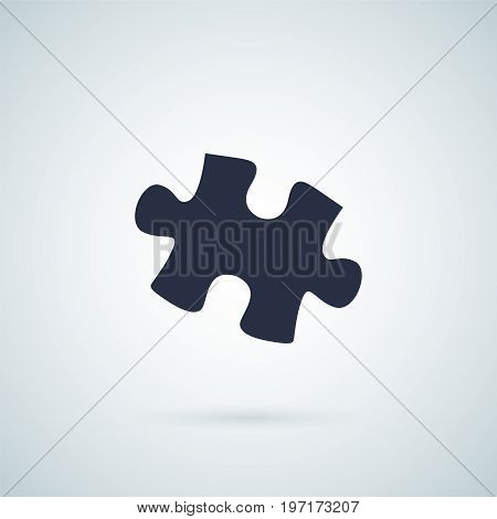 Puzzle - Vector icon. Puzzle piece isolated on grey background with a shadow vector illustration. Wooden puzzle part. Mosaic icon. Jigsaw puzzle vector illustration