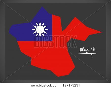 Jilong Shi Taiwan Map With Taiwanese National Flag Illustration
