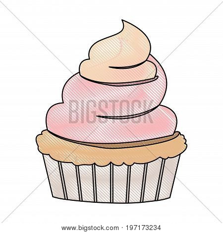 crayon silhouette of hand drawing color cupcake with pink and vainilla buttercream decorative vector illustration
