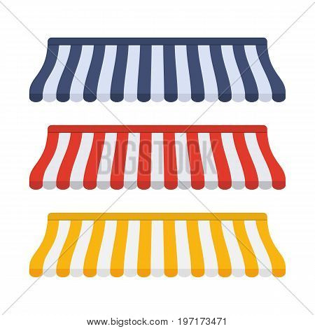 Set of striped awnings for shop and marketplace. Vector illustration in flat style