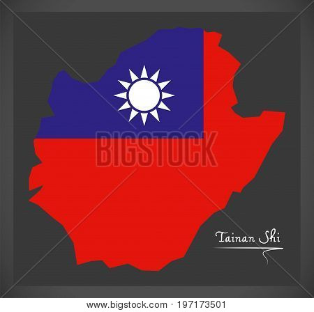 Tainan Shi Taiwan Map With Taiwanese National Flag Illustration