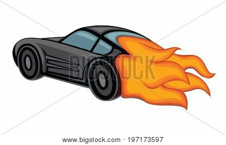 The black car goes at a fast speed behind it the fire burns.