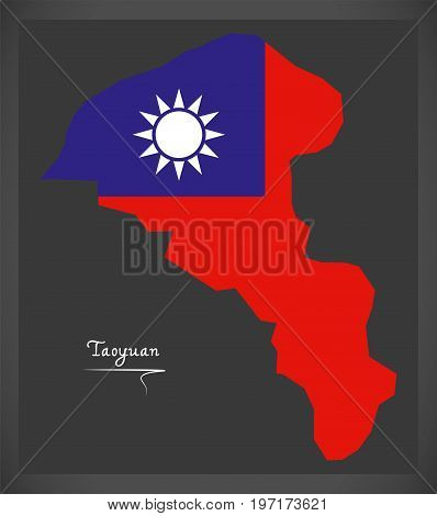 Taoyuan Taiwan Map With Taiwanese National Flag Illustration