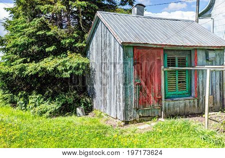 Green and red painted old vintage barn shed in summer landscape field in countryside