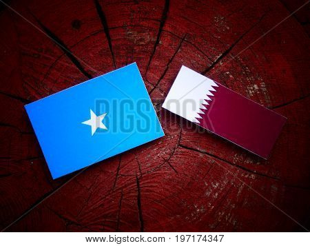 Somalian Flag With Qatari Flag On A Tree Stump Isolated