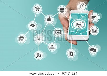 Cloud computing concept with hand holding modern smartphone