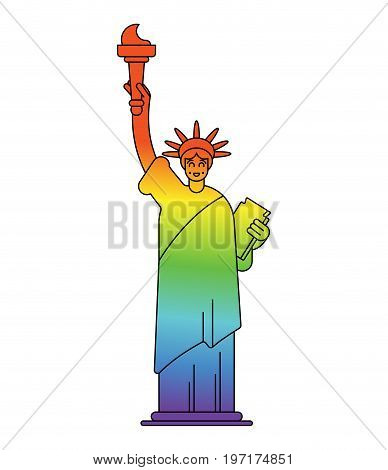 Statue Of Liberty Colors Of Lgbt Flag. Landmark America In Gay Sign. Usa Sculpture New York. America