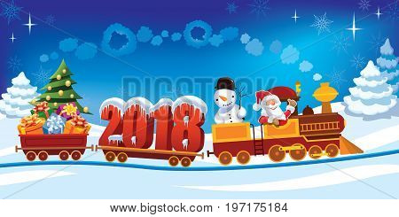 New Year 2018 and Santa Claus in a toy train with gifts snowman and Christmas tree.