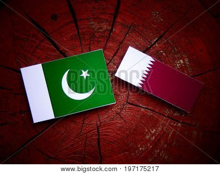 Pakistan Flag With Qatari Flag On A Tree Stump Isolated