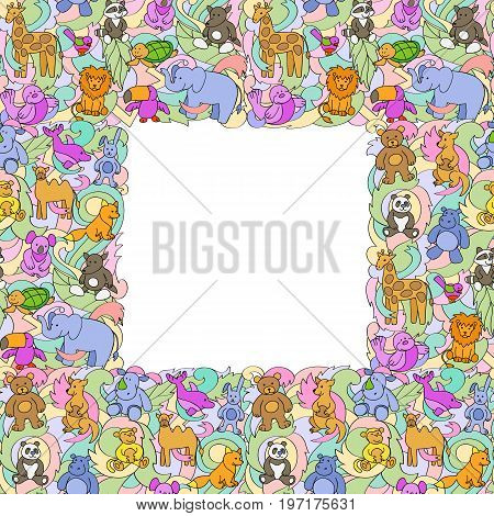Animal outline toys on abstract wave background seamless frame. Fun colorful wallpaper, textile prints, greeting card cover with text place.