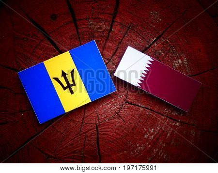 Barbados Flag With Qatari Flag On A Tree Stump Isolated