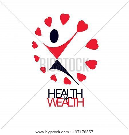Medical rehabilitation abstract logotype symbol. Healthy lifestyle is strong heart. Vector illustration of joyful individual with raised hands up.