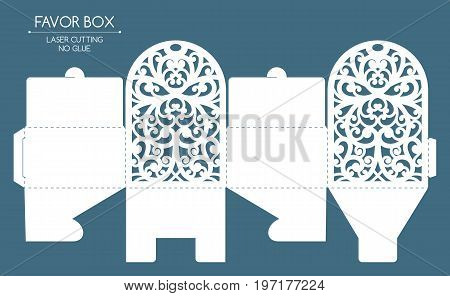 Openwork favor box with a lace ornament. Laser cutting