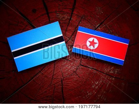 Botswana Flag With North Korean Flag On A Tree Stump Isolated