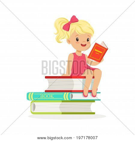 Beautiful blonde girl in pink dress reading on a pile of books, kid enjoying reading, colorful character vector Illustration on a white background