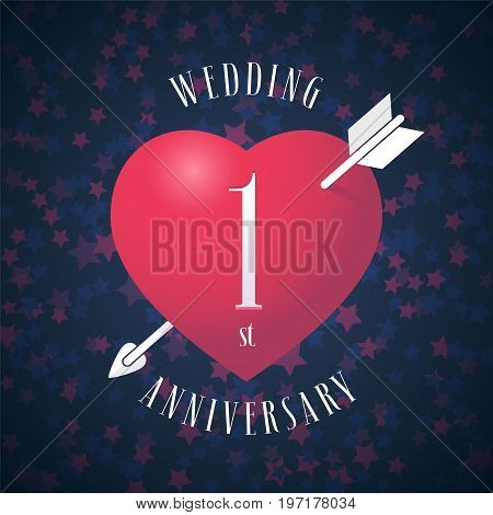 1 years anniversary of being married vector icon, logo. Graphic design element with red color heart and arrow for decoration for 1st anniversary wedding