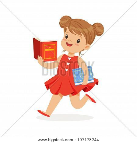 Beautiful girl in red dress running and reading a book, kid enjoying reading, colorful character vector Illustration on a white background