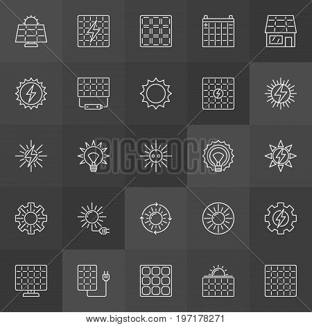 Sun and solar panel icons - vector collection of solar energy outline symbols on dark background