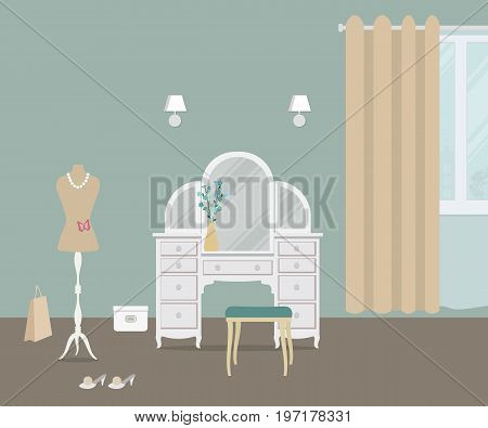 Fragment of bedroom in a blue color with a dressing table. There is also a dummy, a chair and other objects on a window background in the picture. Vector flat illustration