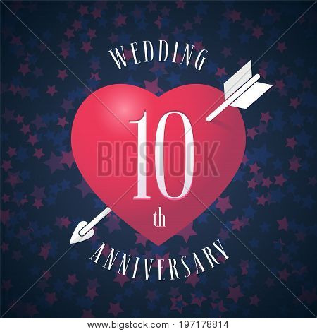 10 years anniversary of being married vector icon, logo. Graphic design element with red color heart and arrow for decoration for 10th anniversary wedding