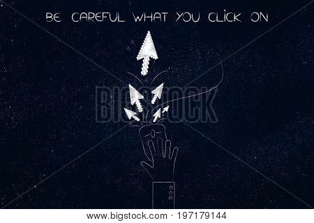 Hand On Computer Mouse With Pointer Arrows, Careful What You Clcik