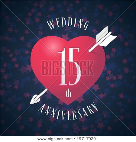15 years anniversary of being married vector icon, logo. Graphic design element with red color heart and arrow for decoration for 15th anniversary wedding