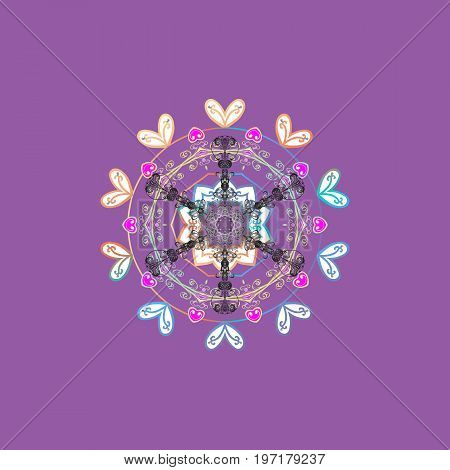 Vector snowflakes background. Snowflake colorful pattern. Snowflakes pattern. Flat design with abstract snowflakes isolated on colors background. Vector illustration.