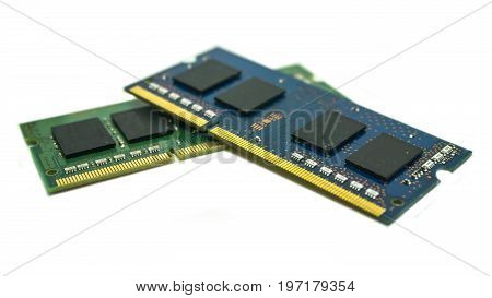 2 SO-DIMM laptop computer RAM memory modules. isolated on white background