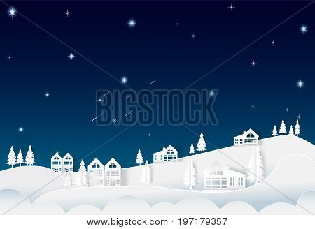 House on the hill night sky with star and comet landscape nature background paper art style illustration