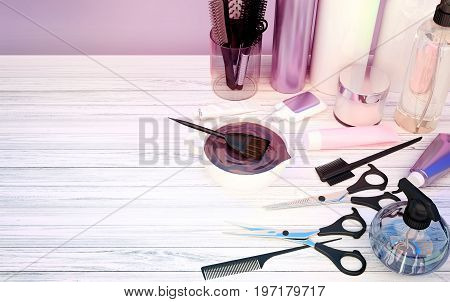 Hair cutting shears combs hair dye and professional cosmetics for hair located on a wooden table. 3D illustration