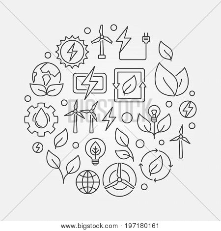 Renewable energy sources illustration - vector round concept symbol made with wind, solar, water and biomass icons in thin line style