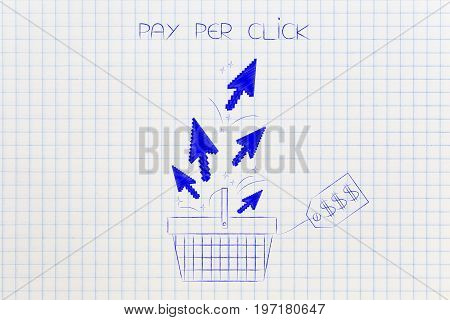 Shopping Basket With Price Tag And Pointer Arrows In It, Pay Per Click