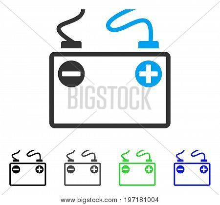 Accumulator Battery flat vector icon. Colored accumulator battery gray, black, blue, green icon variants. Flat icon style for web design.