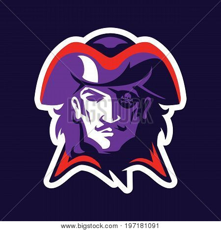Pirate head mascot. Logotype of college sport team