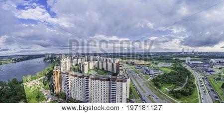 Uptown residential area Rybatskoye district view from skyscraper St. Petersburg Russia