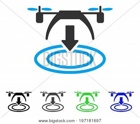 Copter Landing flat vector illustration. Colored copter landing gray, black, blue, green pictogram versions. Flat icon style for web design.