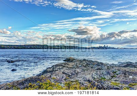 Landscape View Of Saint Lawrence River From Ile D'orleans, Quebec, Canada In Summer With Green Plant