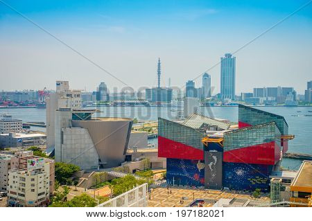 OSAKA, JAPAN - JULY 18, 2017: Aerial view of Aquarium Kaiyukan in Osaka. It is an aquarium located in the ward of Minato in Osaka, Japan, near Osaka Bay. It is one of the largest public aquariums in the world in a sunny day.