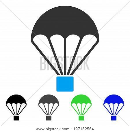 Parachute flat vector illustration. Colored parachute gray, black, blue, green icon versions. Flat icon style for application design.
