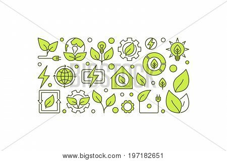 Bio-energy concept banner on white background. Vector clean green energy or bioenergy creative illustration