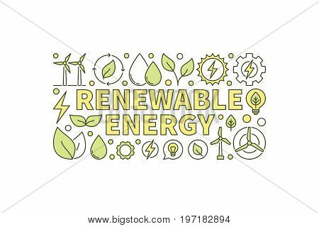 Colorful renewable energy vector banner on white background. Creative clean energy concept illustration