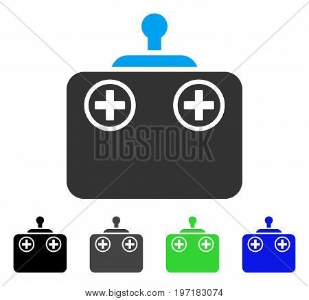 Remote Control Device flat vector illustration. Colored remote control device gray, black, blue, green pictogram variants. Flat icon style for graphic design.