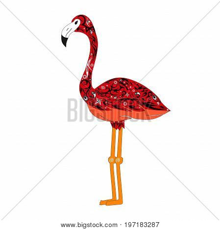 The image of a color flamingo, a bird vector with a pattern, an animal exotic sideways